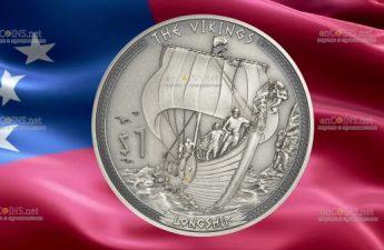 Самоа монета 1 доллар Большой корабль