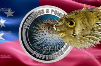 Самоа монета 1 доллар Рыба Фугу
