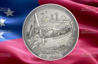 Самоа выпускает монету 1 доллар Погребальная ладья