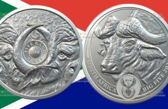 ЮАР монета 5 рэндов Буйвол